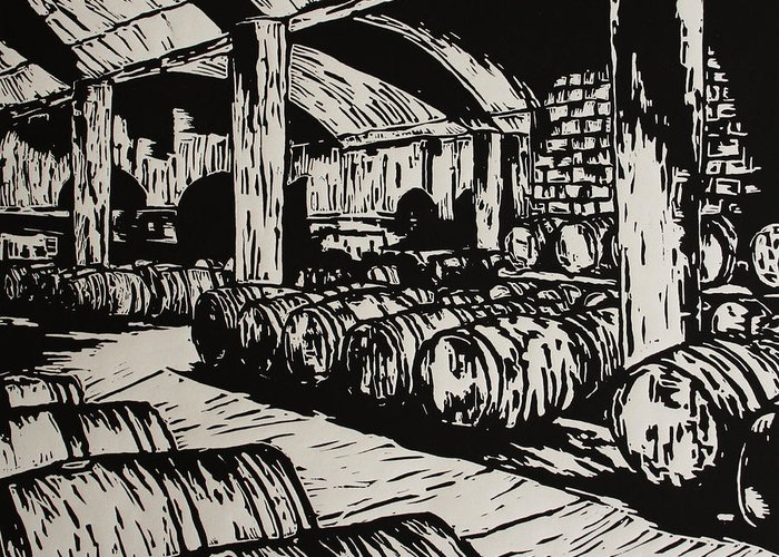 Wine Cellar Greeting Card featuring the drawing Wine Cellar by William Cauthern