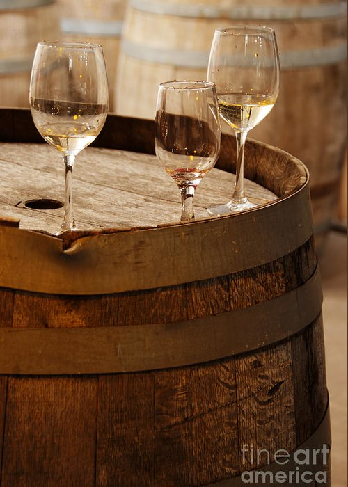 Alcohol Greeting Card featuring the photograph Wine Glasses On An Old Wine Barrel by Michael Gray