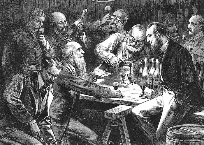 1876 Greeting Card featuring the photograph Wine Tasting, 1876 by Granger