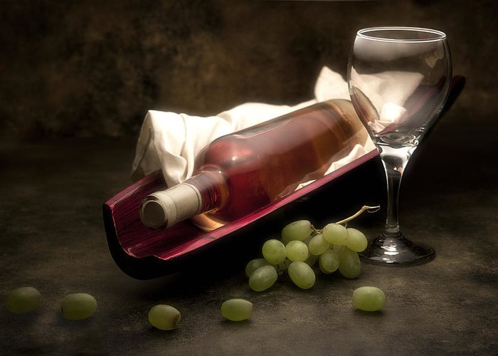 Alcohol Greeting Card featuring the photograph Wine With Grapes And Glass Still Life by Tom Mc Nemar