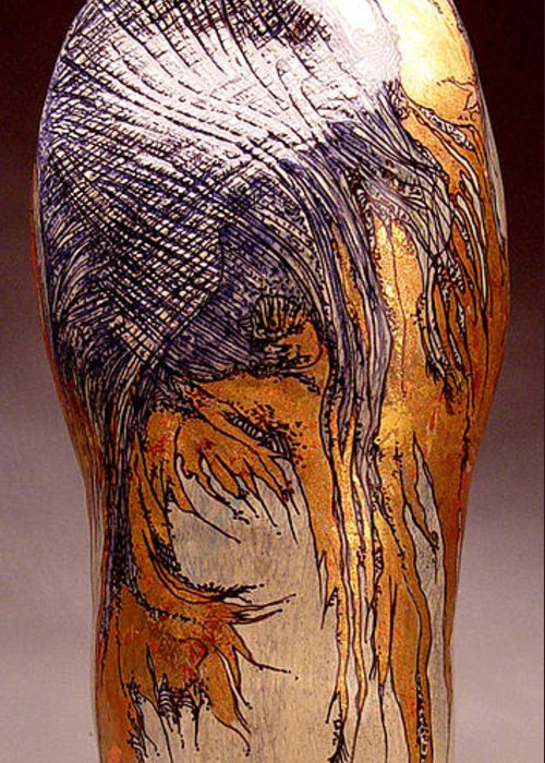 Original Stoneware Vase Greeting Card featuring the sculpture Wings by Judith Birtman