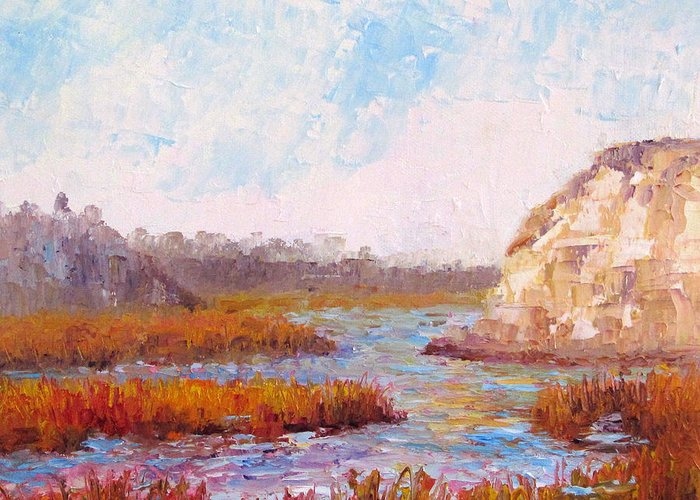 Water Greeting Card featuring the painting Winter At The Back Bay by Terry Chacon