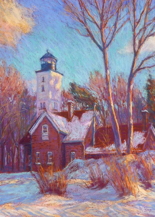 Impressionism Greeting Card featuring the painting Winter At The Lighthouse by Michael Camp