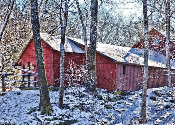 Landscape Greeting Card featuring the photograph Winter Barn by Nancy Rohrig