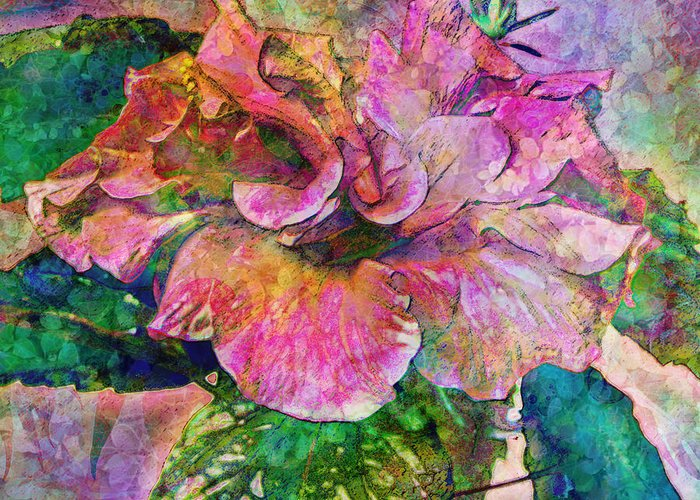 Hibiscus Greeting Card featuring the digital art Winter Bloom by Barbara Berney