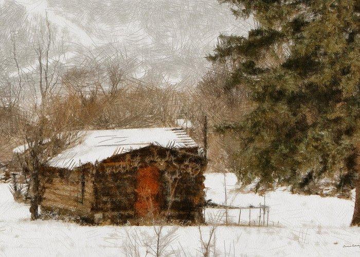 Cabin Greeting Card featuring the digital art Winter Cabin 2 by Ernie Echols