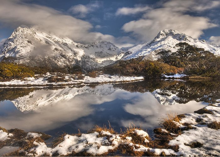 00446716 Greeting Card featuring the photograph Winter Dawn Reflection Of Mount by Colin Monteath