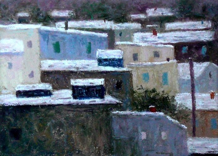 Urban Landscape Greeting Card featuring the pastel Winter Day In The City by Bob Richey