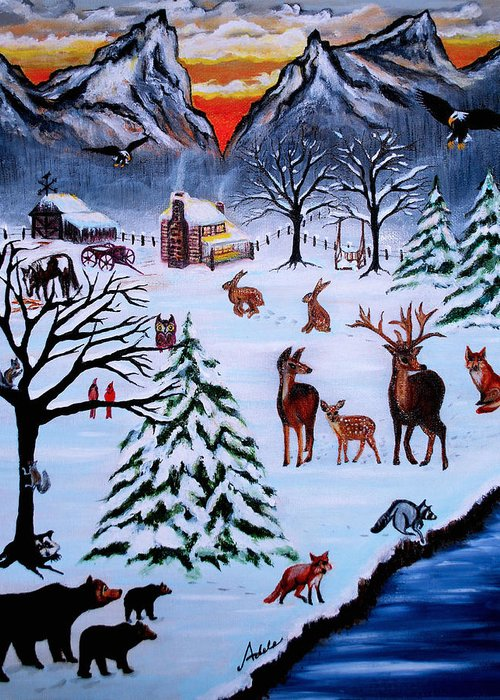 Winter Greeting Card featuring the painting Winter Gathering by Adele Moscaritolo