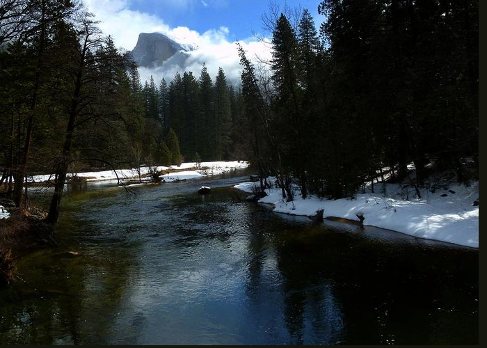 Yosemite In Winter Greeting Card featuring the photograph Winter Half Dome And The Merced River by Jeff Lowe