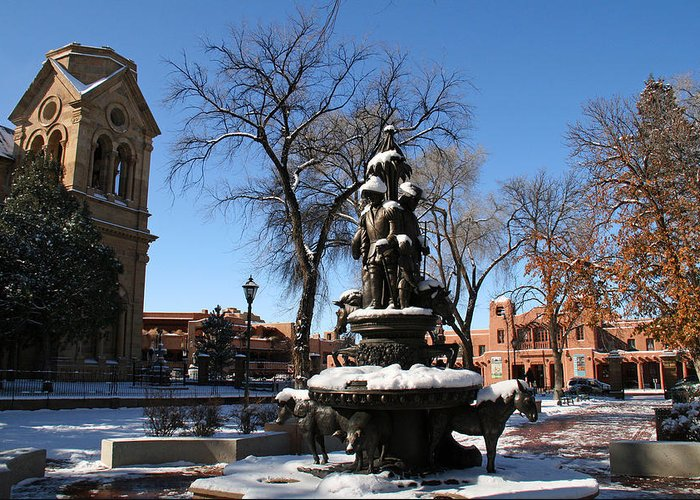 Santa Fe Greeting Card featuring the photograph Winter In Cathedral Park Santa Fe by Elizabeth Rose