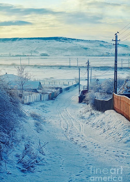Snow Greeting Card featuring the photograph Winter In Romanian Countryside by Gabriela Insuratelu
