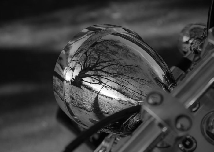 Motorcycle Greeting Card featuring the photograph Winter In The Headlight by Patrick Flynn