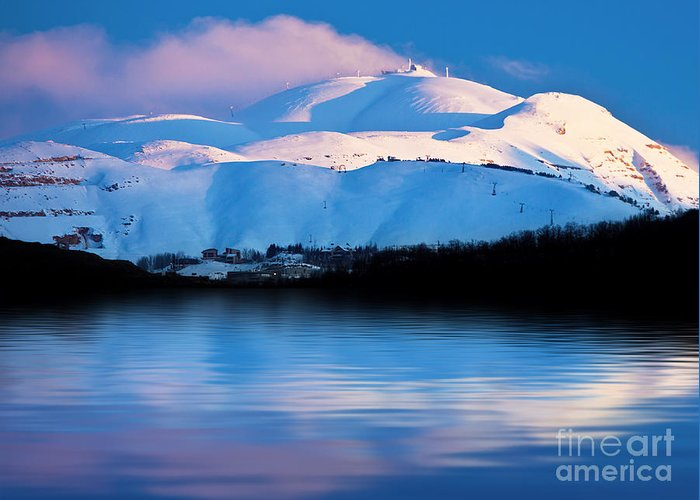 Beautiful Greeting Card featuring the photograph Winter Mountains And Lake Snowy Landscape by Anna Om