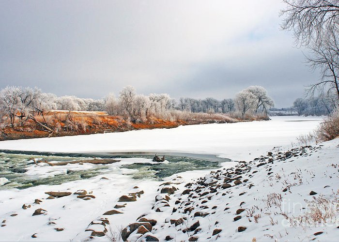 Red River Greeting Card featuring the photograph Winter Red River 2012 by Steve Augustin