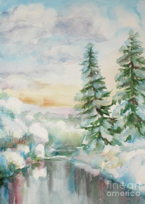 Winter Painting Greeting Card featuring the painting Winter Reflections by Inese Poga