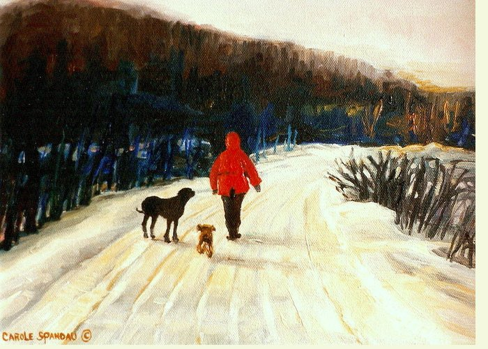 Quebec Artist Greeting Card featuring the painting Winter Road Quebec Laurentian Landscape by Carole Spandau