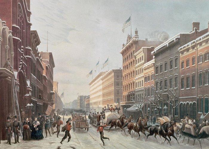 Winter Scene On Broadway Greeting Card featuring the painting Winter Scene On Broadway by American School