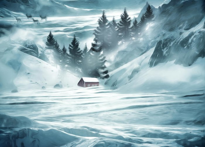 Red Barn In Winter Greeting Cards