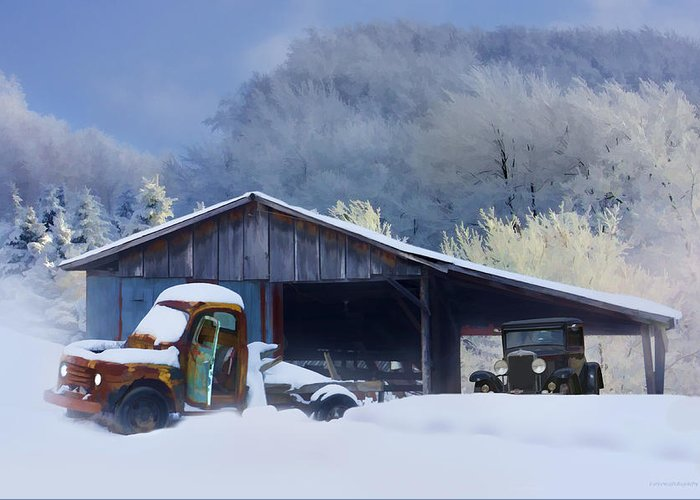 Winter Greeting Card featuring the photograph Winter Shed by Ron Jones
