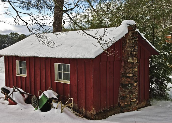 Small Greeting Card featuring the photograph Winter Shed by Susan Leggett