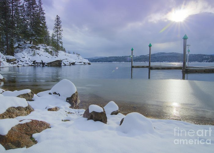 Coeur D'alene Greeting Card featuring the photograph Winter Shore by Idaho Scenic Images Linda Lantzy