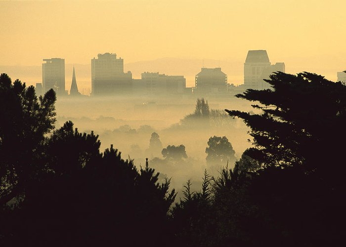 Hhh Greeting Card featuring the photograph Winter Smog Over The City by Colin Monteath