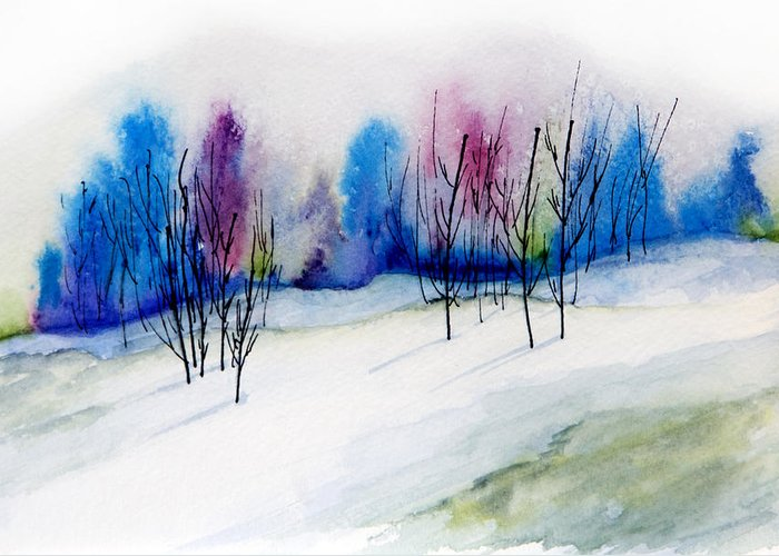 Watercolor Greeting Card featuring the painting Winter Sorbet by Lynne Furrer