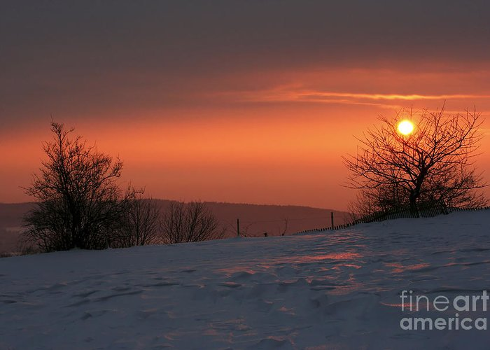 Twilight Greeting Card featuring the photograph Winter Sunset by Michal Boubin