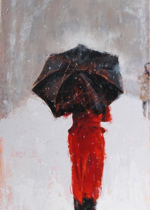 Laura Zanghetti Greeting Card featuring the painting Winter Walk by Laura Lee Zanghetti