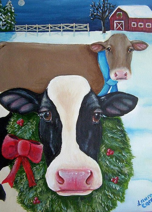 Brown Swiss Greeting Card featuring the painting Winter Wonderland by Laura Carey