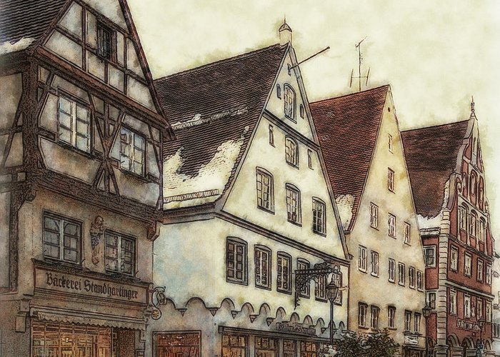 Winterly Old Town Greeting Cards