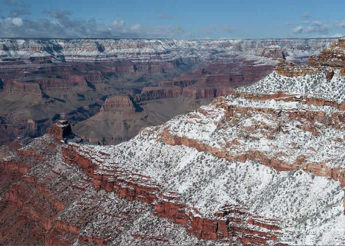 Grand Canyon Greeting Card featuring the photograph Winter's Touch At The Grand Canyon by Sandra Bronstein