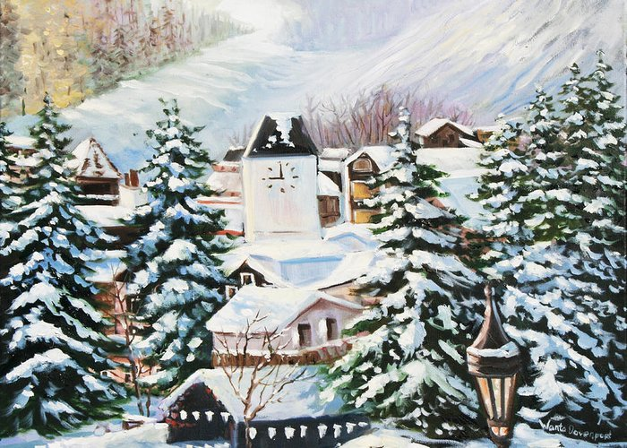 Snow Greeting Card featuring the painting Wintertime In Vail 2286 by Wanta Davenport