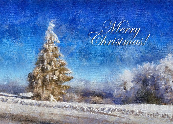 Merry Christmas Greeting Card featuring the digital art Wintry Christmas Tree Greeting Card by Lois Bryan