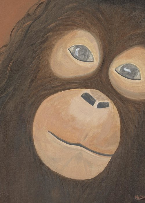 Animal Greeting Card featuring the painting Wistful Chimpanzee by Norma Treasure Garwood