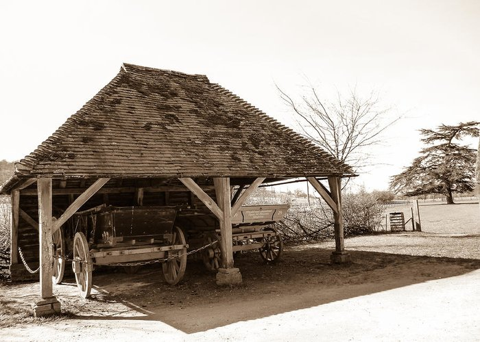 Cart Greeting Card featuring the photograph Wiston Wagon Shed by Dawn OConnor