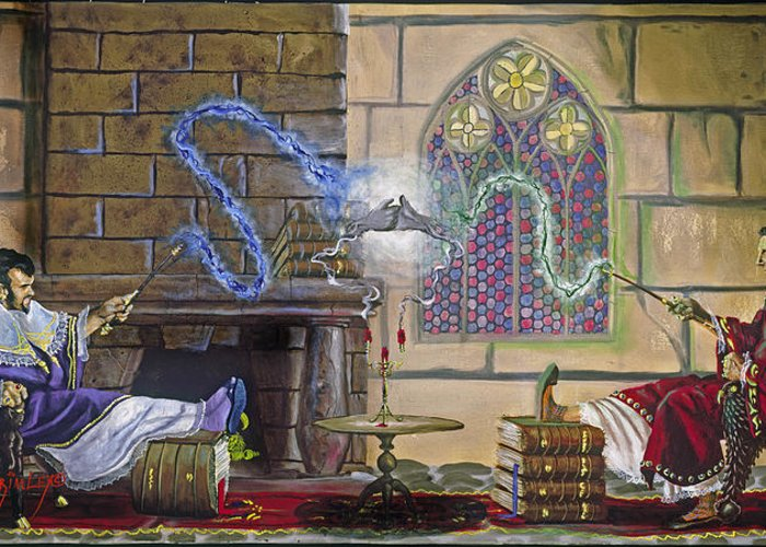 Jeffrey V. Brimley Greeting Card featuring the painting Wizards Duel by Jeff Brimley