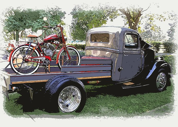 Wizzer Greeting Card featuring the photograph Wizzer Cycle At The Hot Rod Show by Steve McKinzie