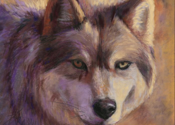 Wolf Greeting Card featuring the painting Wolf Study by Billie Colson