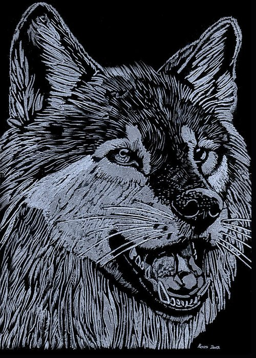Wolf Greeting Card featuring the sculpture Wolfie by Jim Ross