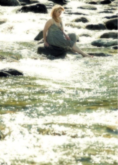Young Greeting Card featuring the photograph Woman Admist A Torrent by Joana Kruse