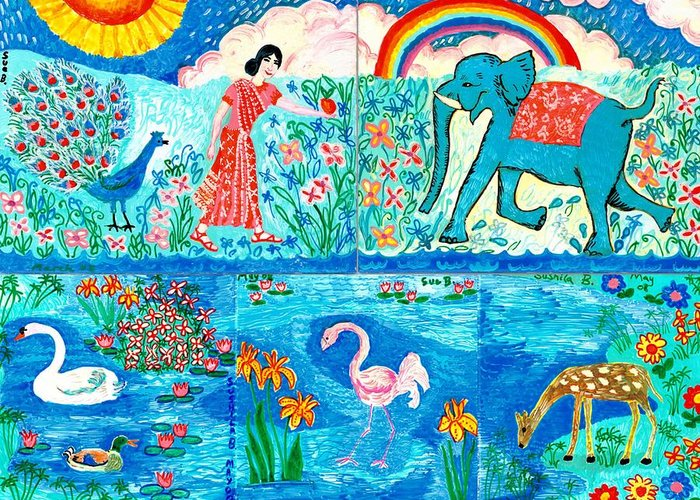 Elephant Greeting Card featuring the painting Woman And Blue Elephant Beside The Lake by Sushila Burgess