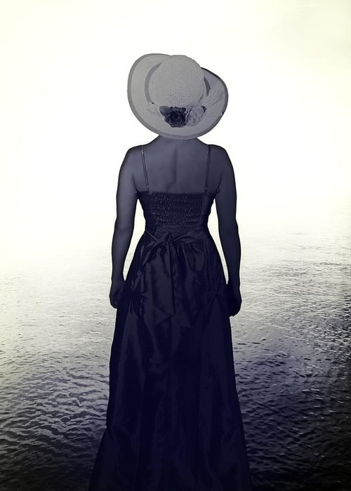 Female Greeting Card featuring the photograph Woman At The Shore by Joana Kruse