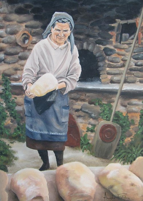 Woman Greeting Card featuring the painting Woman Baking Bread by Anna Poelstra Traga