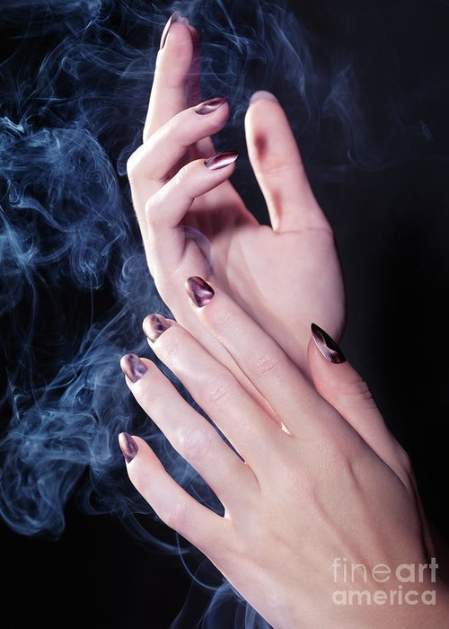 Hands Greeting Card featuring the photograph Woman Hands In A Cloud Of Smoke by Oleksiy Maksymenko