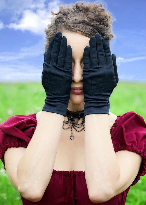 Female Greeting Card featuring the photograph Woman Hiding by Joana Kruse