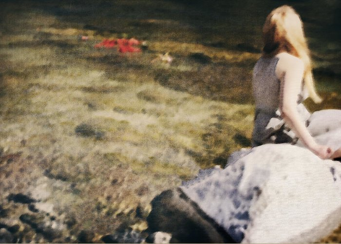Young Greeting Card featuring the photograph Woman In A River by Joana Kruse