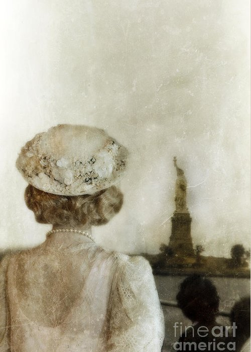 Woman Greeting Card featuring the photograph Woman In Hat Viewing The Statue Of Liberty by Jill Battaglia