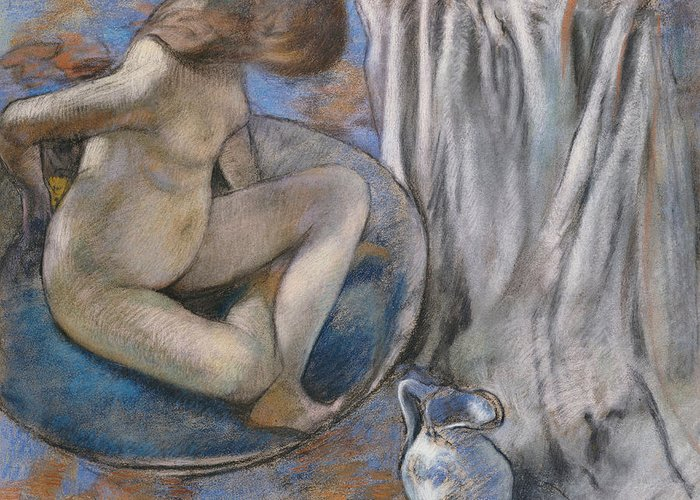 Woman In The Tub Greeting Card featuring the pastel Woman In The Tub by Edgar Degas